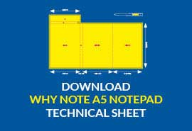 Why Note A5 size notepad with pen download technical sheet